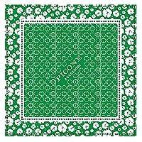 [ピッコーネ アッチェッソーリ] バンダナ 綿 スカーフ 正方形 55×55 日本製 プリント PICONEロゴ 小花と太陽の柄 グリーン