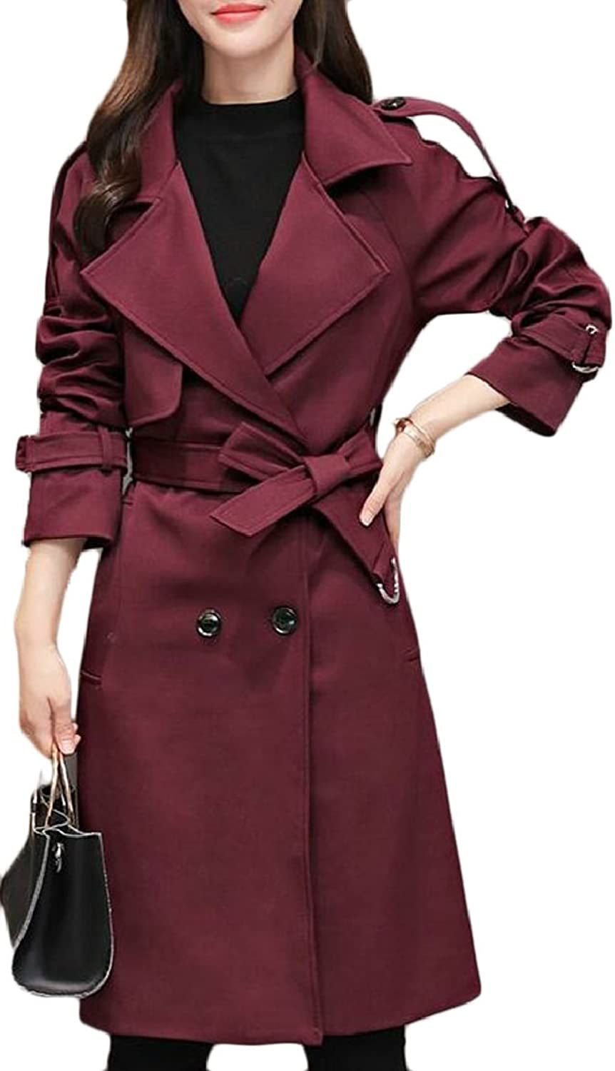 TymhgtCA Women's Double Breasted Casual Trench Coat with Belt