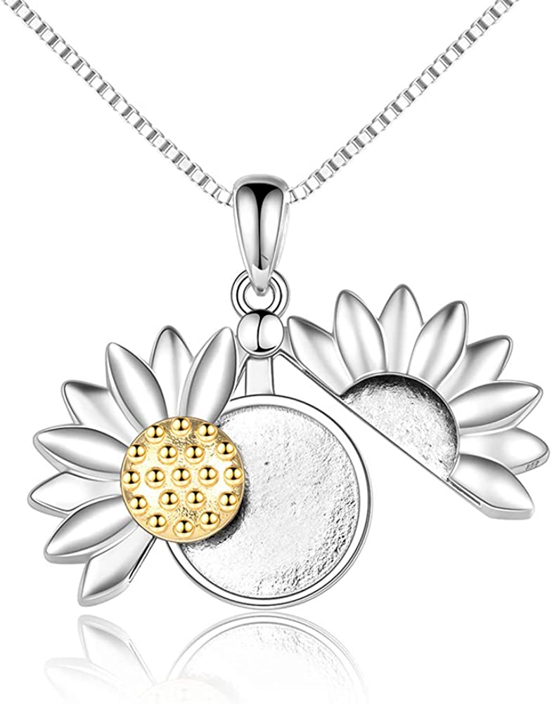 UCADRIT Personalized Sunflower Locket At Import the price of surprise Necklaces Sterling 925 Sil