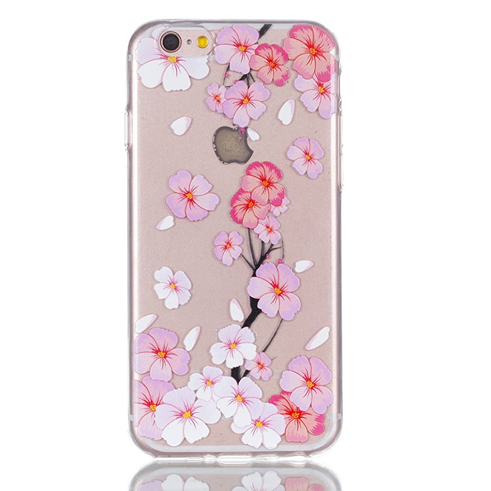 AllDo iPhone 6 PLUS/6S Plus Case Flexible TPU Cover Soft Silicone Case Ultra Thin Skin Crystal Clear Case Lightweight Shell Shockproof Anti Scratch Shell - Peach Blossom