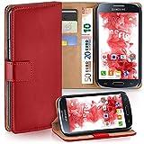 MoEx Premium Book-Hülle Handytasche passend für Samsung Galaxy S4 Mini | Handyhülle mit Kartenfach & Ständer - 360 Grad Schutz Handy Tasche, Rot