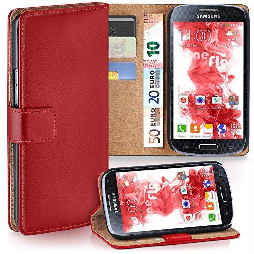 MoEx Premium Book-Case Handytasche kompatibel mit Samsung Galaxy S4 Mini | Handyhülle mit Kartenfach und Ständer - 360 Grad Schutz Handy Tasche, Rot
