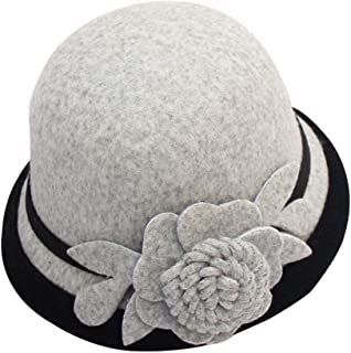 Cloche Round Hat for Women Beanie Flower Dress Church Elegant British