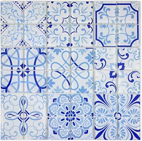 Mosaico de mosaico retro vintage azul translúcido MALTA MOS68-Retro-M