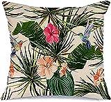 BONRI Funda de almohada decorativa de poliéster Chamaedorea con diseño floral verde Aniversario colibrí Botánico Vintage Boda Victoriana Cuadrado Funda de almohada (45 x 45 cm)