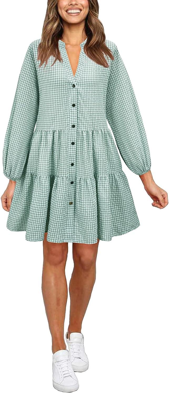 HMPRT Women's Casual Gingham Button Down Long Sleeve V Neck Flowy Loose Fit Swing Pocket Cute Short Mini Dress