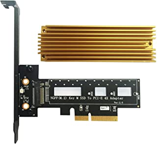 PCI Express M.2 SSD NGFF PCIe Card to PCIe 3.0 x4 Adapter with Heatsink Support M.2 PCIe (NVMe or AHCI) Type 2280 2260 2242