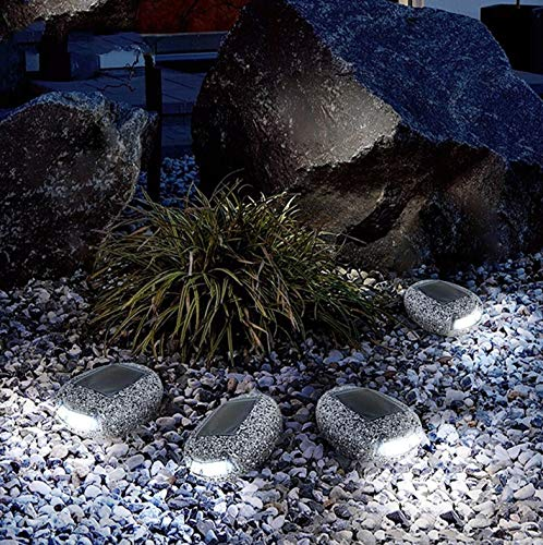 L.J.JZDY solcellslampor solcellslampor utomhus vattentät LED sol trädgård sten lampor gatulampa för trädgård gårdslampor dekor solstift lampa (färg: Grå, storlek: 6 delar)