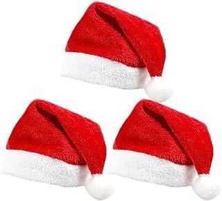 Dolloly Christmas Santa Hat Funny Christmas Hat for Adults and Kids Plush Xmas Hat for Christmas Party Santa Hats 3 Pcs (O...