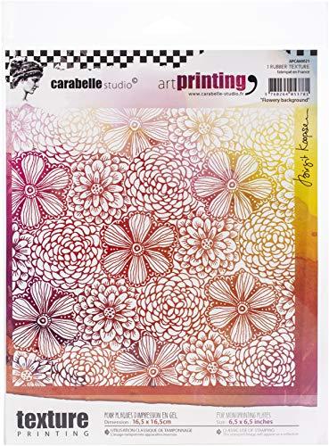 Carabelle Studio Art Printing rubberen stempel vierkant, bloemige achtergrond, voor monoprinting met gelplaten