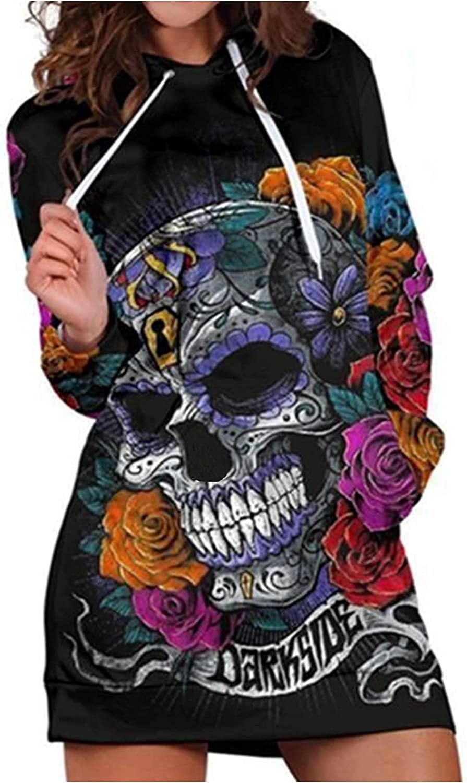 Autumn Women Knitting Hooded Casual Long Sleeve Hoodie Sweatshirt Pocket Skull Floral Print Straight Dresses