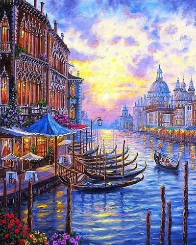 yaonuli Venedig DIY Färbung Leinwand Ölgemälde Bild von Digital Painting Home Decoration 40x50cm Rahmenlos