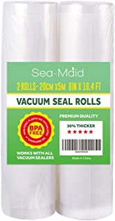 Sea-Maid Vacuum Sealer Bags Rolls 2 Pack 8x16.4' Food Saver Commercial Food Storage Rolls for Seal a Meal Weston Sous Vide Seal Bags BPA Free Heavy Duty