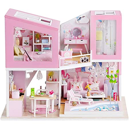 ROBOX Cute DIY Dollhouse Kit Furniture with LED Lights /& Dust Cover Building Little Doll House Miniature for Adults Cozy Corners of Home Living Room