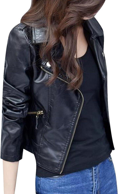 TRENDY XU Womens Slim Faux Leather Jacket Moto Zip Up Cropped Coat