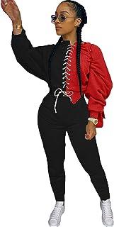 Women's Tracksuit, 2 Piece Solid Tracksuit Set Sweatshirts Pants Set Sweatshirt and Long Pants Sweatsuit Jogging Suit Spor...