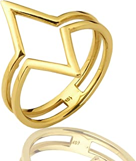 Mr. Bling 10K Yellow Gold Diamond Shaped Geometric Design Ring, Available in Sizes 5-9
