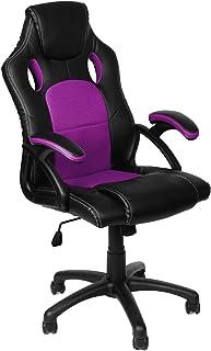 Panorama24 - Silla de oficina para videojuegos, ergonómica, 9variantes de colores, reposabrazos acolchados, mecanismo de balancín, soporta hasta 150kg, certificado TÜV