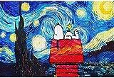 Jigsaw Puzzle 3D de Madera clásico del Rompecabezas Snoopy bajo Las Estrellas del Paisaje DIY de la decoración del hogar Moderno coleccionables 75x50cm 1000 Pieza (Color : 747)