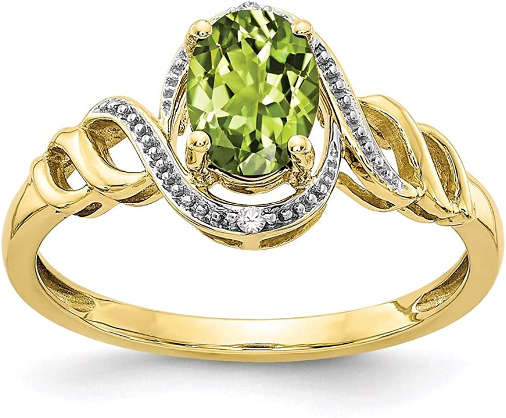 10k Yellow Gold Green Peridot Diamond Band Ring Size 7.00 Stone Birthstone August Oval Fine Jewelry For Women Gifts For Her