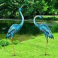 Kircust Garden Sculpture & Statues, Blue Heron Lawn Ornaments Standing Metal Crane Yard Art Large Size Bird Decoy for Outdoor Lawn Backyard Porch Patio Decoration, Set of 2