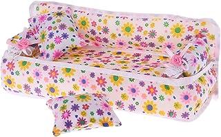 Minhuih 最高の贈り物 最高の贈り物 1人形のソファハウスドールハウスフローラルプリントの装飾リビングルーム人形アクセサリーチェアミニ家具フラワー枕クッション子供の子供のおもちゃ女の子の贈り物