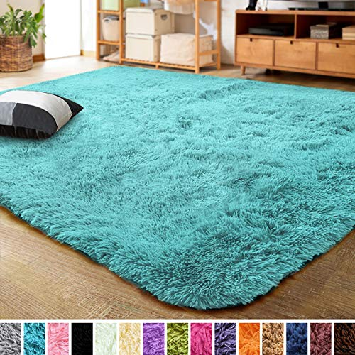 LOCHAS Ultra Soft Indoor Modern Area Rugs Fluffy Living Room Carpets for Children Bedroom Home Decor Nursery Rug 4x5.3 Feet, Blue