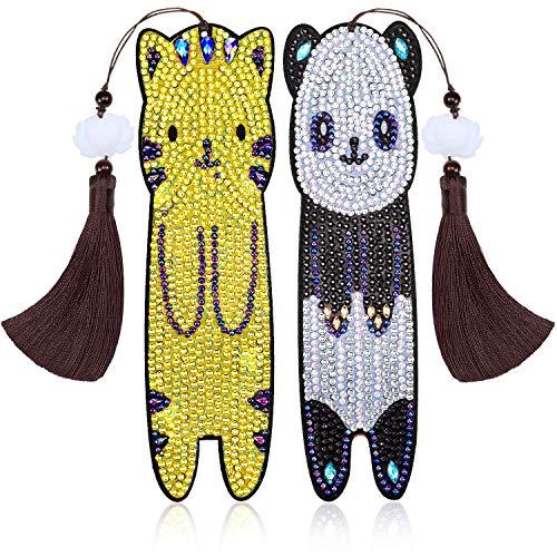 2 Pieces Diamond Painting Bookmark 5D DIY Beaded Bookmarks Animal Panda Cat Bookmark Leather Tassel Bookmark with Diamond Painting Tools for Kids Adults Beginner Crafts Supplies