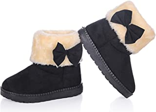 Baby's Girl's Toddler Fashion Cute Bowknot Fur Lining Princess Warm Snow Boots