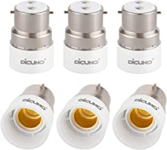 DiCUNO B22 to E14 Socket Converter, Bayonet to Small Screw Adapter, 0-250V, 165℃ Heat Resistant, 6 Packs