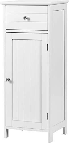 discount Giantex Bathroom Floor Storage Cabinet with Adjustable Shelf, Large online Drawer,Stable Freestanding Structure Anti-Tilt Simple Elegant Style, Easy Assembly for Living Room Single Door Floor high quality Cabinet,White online