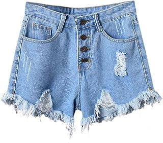 Mogogo Womens Plus-Size Leg Pants Burr Distressed Washed Jean Denim Shorts