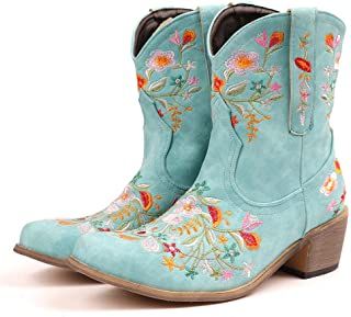 Women Vintage Flower Embroidered Cowgirl Boots Retro...
