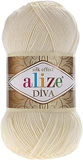 Hand Knitting Yarn 100% Microfiber Acrylic Yarn Alize Diva Silk Effect Thread Crochet Art Lace Craft Lot of 4 skeins 400gr 1532yds Color (1 Cream)