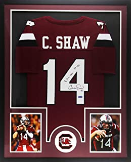 Connor Shaw Autographed/Signed Gamecocks Framed Custom Maroon NCAA Jersey with Career Stats Inscription