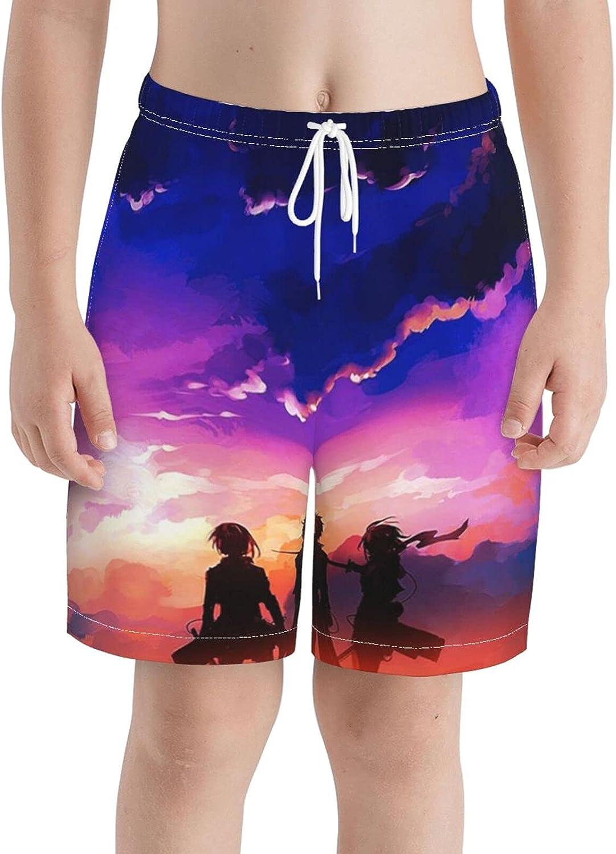 Zhenzhan Boys' Anime Sunset Swimwear with Pockets/Drawstring 3D Printed Shorts Elastic Waistband Athletic Shorts