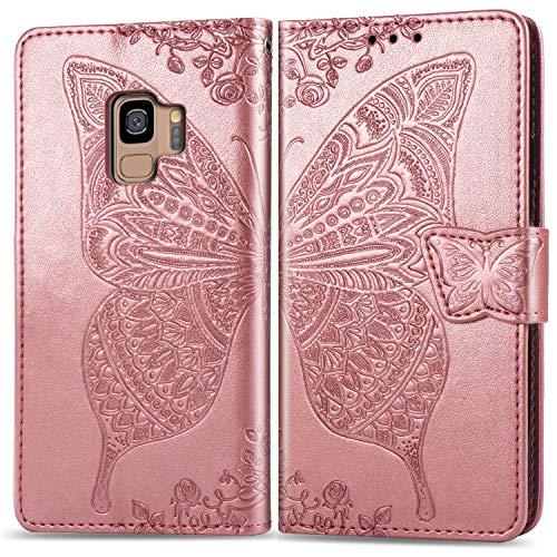 Hülle für Galaxy S9 Hülle Handyhülle [Standfunktion] [Kartenfach] Tasche Flip Case Cover Etui Schutzhülle lederhülle klapphülle für Samsung Galaxy S9/G960F - DESD020446 Rosa Gold