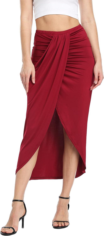 MISS MOLY Women's Casual Slit Wrap Asymmetrical Elastic High Waist Maxi Draped Skirt