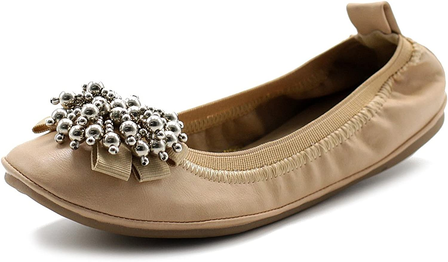 Ollio Women's Ballet shoes Soft Cute Silver Bead Accent Flat