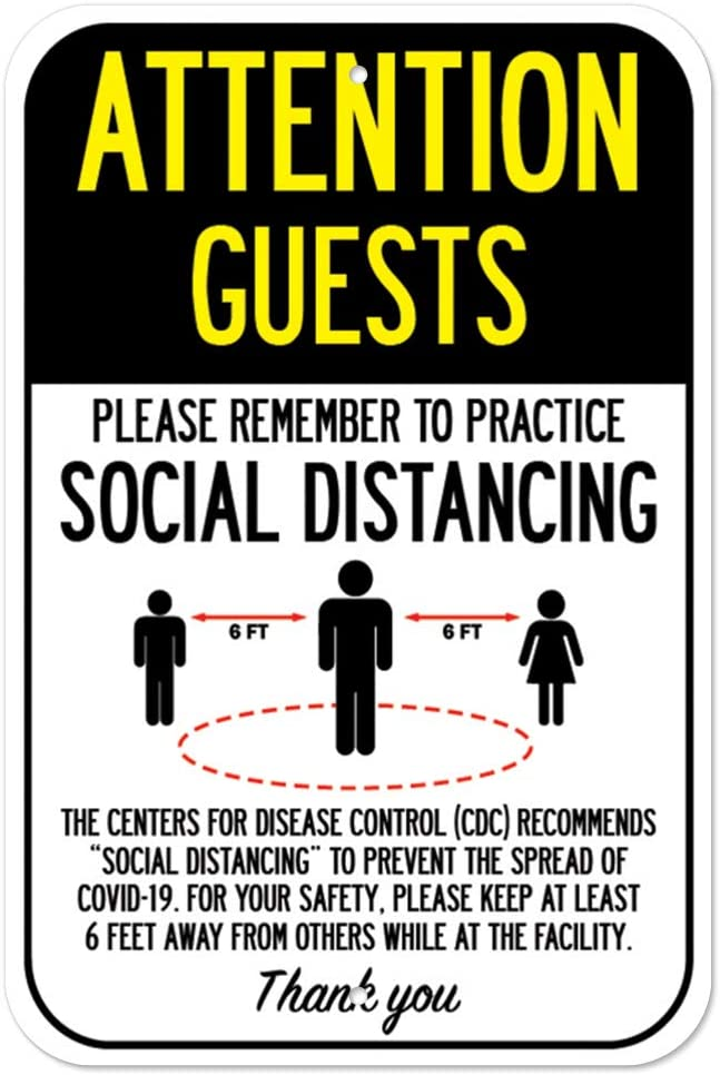 Outlet sale feature Public Safety Sign Max 57% OFF - Attention Distancing Practice Guests Social