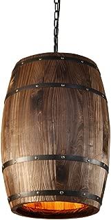 Ganeep Country Wooden Barrel Pendant Lights Kitchen Island Lamp Creative E27 Lighting Fixture Art Decoration for Bar Living Room Cafe