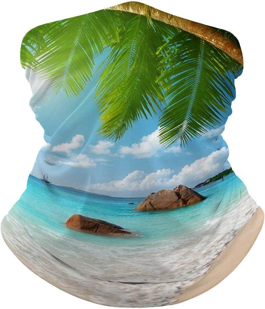 Ocean Beach Neck Gaiter Face Cover Scarf Breathable Summer Cooling Seamless Bandana Wrap Face Mask - Women & Men for Dust,Outdoor,Festivals,Sports