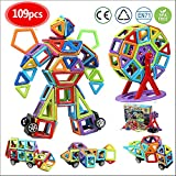 infinitoo 109 pcs Magnetic Building Blocks| 3D Magnetic Construction Rainbow Kit| STEM Building Block Creative Educational Gift for Boys Girls| Magnetic Tiles Set for Kids Toddlers for Edutainment