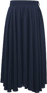 4THSEASON Chiffon Calf-Length Skirt Flared Solid Skirt with Lining