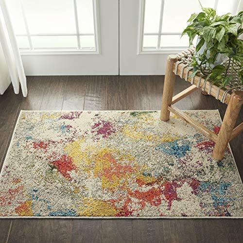Nourison Himmlischer farbenfroher, moderner Teppich, mehrfarbig, 60 x 90 cm, Elfenbeinfarben/mehrfarbig