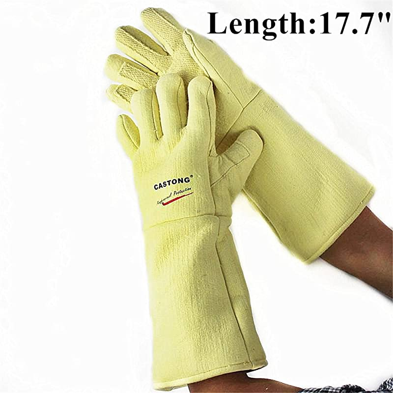 Inf Way EN407 Professional Castong Para Aramid Fibers 932 F Extreme Heat Resistant Oven Gloves For Cooking Flame Retardant Anti Scalded BBQ Grill Gloves 17 7 Length
