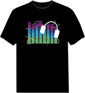 LED Flashing Shirt Sound Activated Fashion Black Cotton T-Shirt for Night Club Wear Party NightShow Halloween Christmas