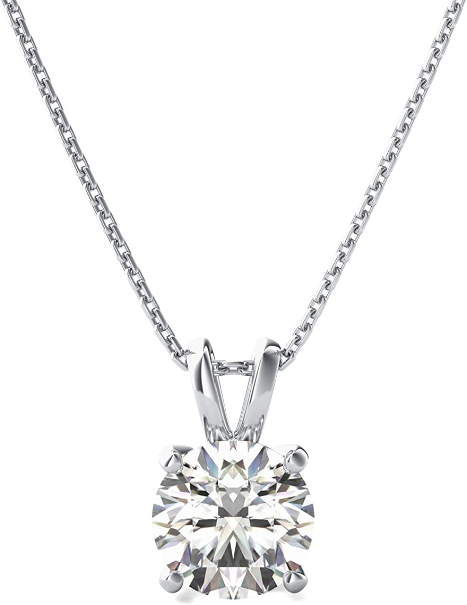 3.05 ct Brilliant Round Cut Stunning Genuine Created White Sapphire Ideal VVS1 D Solitaire Pendant Necklace With 18