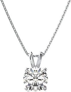 2.5 CT Brilliant Round Cut Simulated Diamond CZ 14K White Gold Solitaire Pendant Box Necklace 16