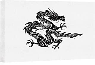 Japanese Dragon Arts Canvas Print for Living Room Decoration,Cultural Zodiac Icon Monochrome Graphic Style Eastern Dragon Claws Scales Painting Wall Art Picture Print on Canvas,24